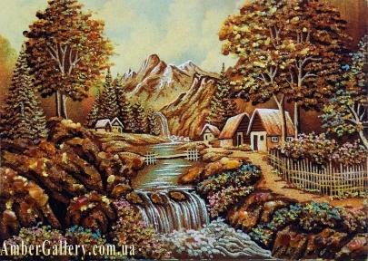 Деревня у горной реки №277