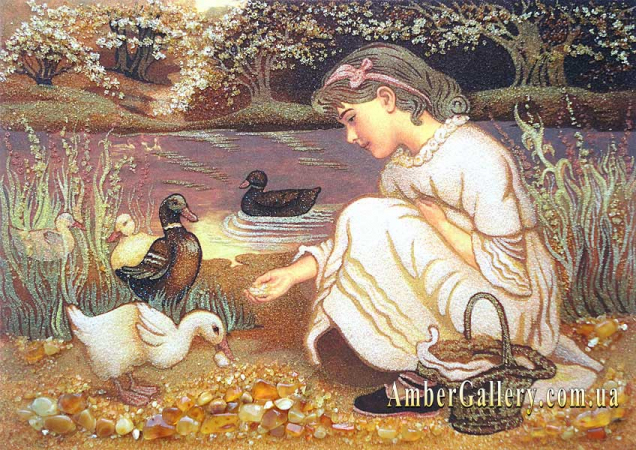 Девочка кормит уток (2)