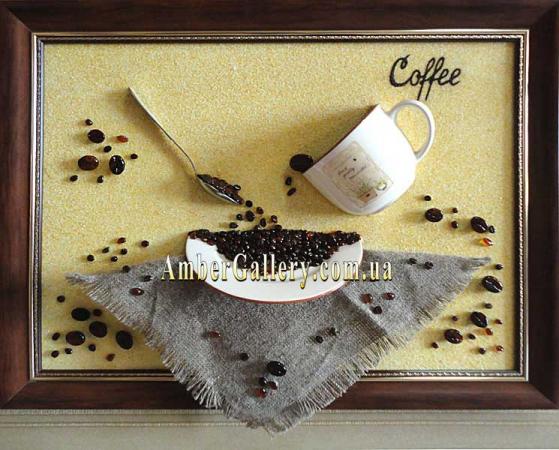 Инкрустация для кофейни. Изделие из янтаря (33)