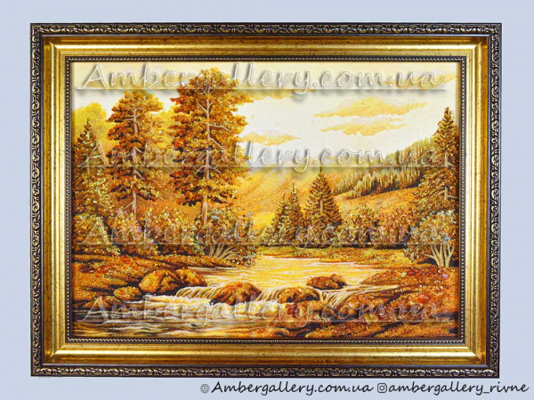 Картина из янтаря «Река в Карпатах» №12